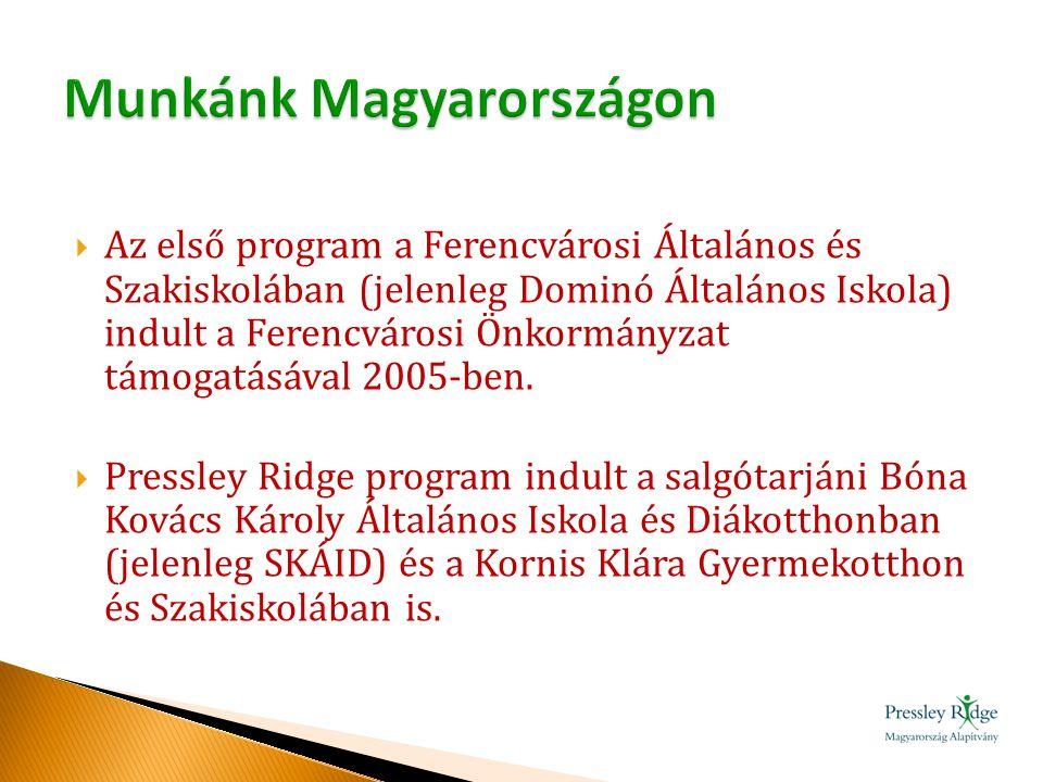  Az első program a Ferencvárosi Általános és Szakiskolában (jelenleg Dominó Általános Iskola) indult a Ferencvárosi Önkormányzat támogatásával 2005-b