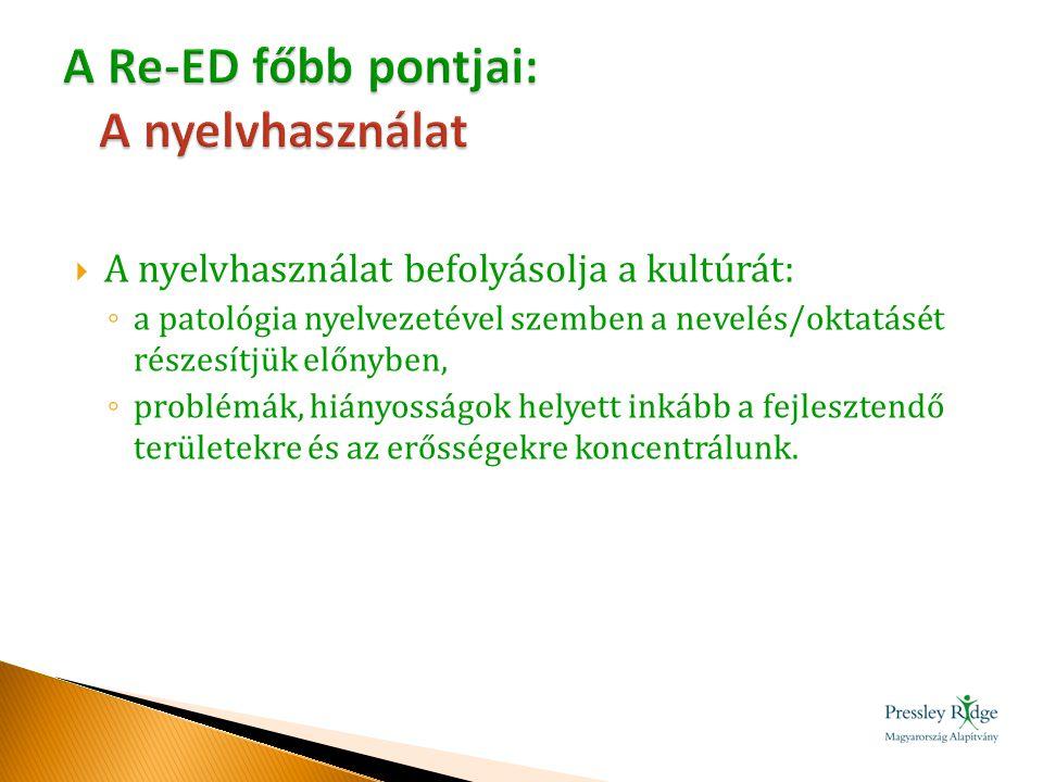  Megismerik a szakmai munkában alkalmazható 12 Re-ED alapelvet.