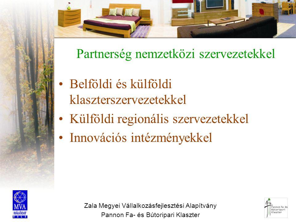 Zala Megyei Vállalkozásfejlesztési Alapítvány Pannon Fa- és Bútoripari Klaszter Partnerség nemzetközi szervezetekkel Belföldi és külföldi klaszterszer
