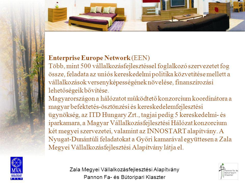 Zala Megyei Vállalkozásfejlesztési Alapítvány Pannon Fa- és Bútoripari Klaszter Enterprise Europe Network (EEN) Több, mint 500 vállalkozásfejlesztésse
