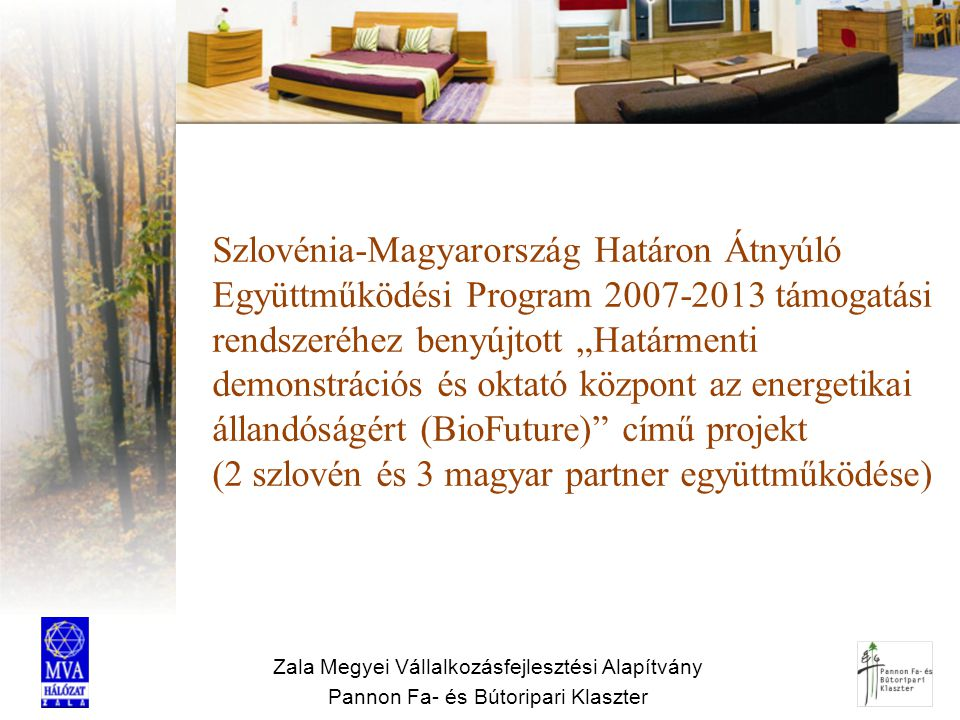 Zala Megyei Vállalkozásfejlesztési Alapítvány Pannon Fa- és Bútoripari Klaszter Szlovénia-Magyarország Határon Átnyúló Együttműködési Program 2007-201