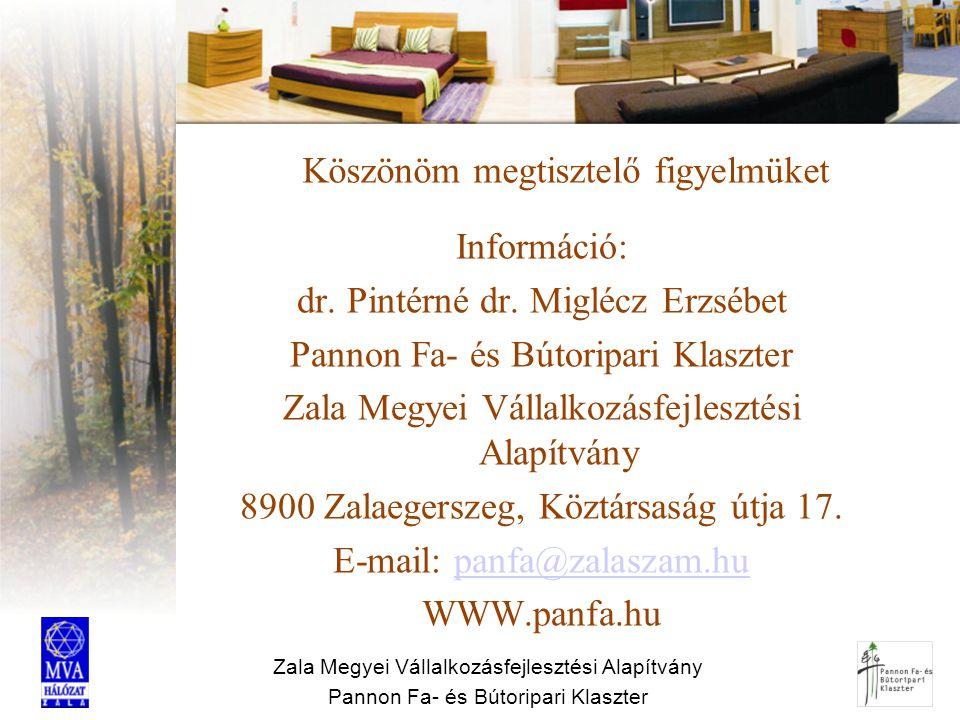 Zala Megyei Vállalkozásfejlesztési Alapítvány Pannon Fa- és Bútoripari Klaszter Köszönöm megtisztelő figyelmüket Információ: dr. Pintérné dr. Miglécz
