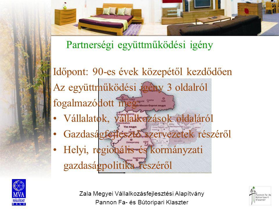 Zala Megyei Vállalkozásfejlesztési Alapítvány Pannon Fa- és Bútoripari Klaszter Partnerségi együttműködési igény Időpont: 90-es évek közepétől kezdődő