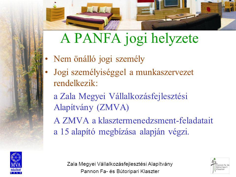 Zala Megyei Vállalkozásfejlesztési Alapítvány Pannon Fa- és Bútoripari Klaszter A PANFA jogi helyzete Nem önálló jogi személy Jogi személyiséggel a mu