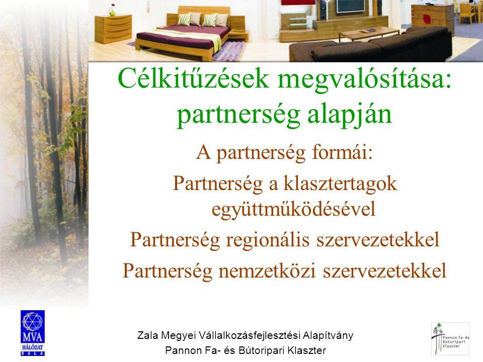 Zala Megyei Vállalkozásfejlesztési Alapítvány Pannon Fa- és Bútoripari Klaszter Célkitűzések megvalósítása: partnerség alapján A partnerség formái: Pa