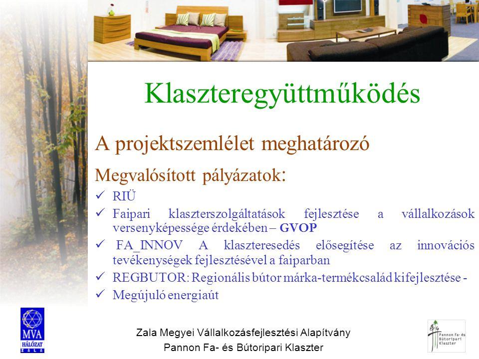 Zala Megyei Vállalkozásfejlesztési Alapítvány Pannon Fa- és Bútoripari Klaszter Partnerség regionális szinten Regionális Fejlesztési Ügynökség Nyugat-Magyarországi Egyetem Regionális Innovációs Ügynökség Kutatási-fejlesztési intézetek Vállalkozásfejlesztési szervezetek, stb (=jó partnerség, közös projektek a vállalkozások érdekében)