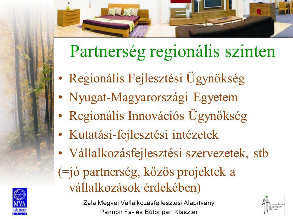 Zala Megyei Vállalkozásfejlesztési Alapítvány Pannon Fa- és Bútoripari Klaszter Partnerség regionális szinten Regionális Fejlesztési Ügynökség Nyugat-