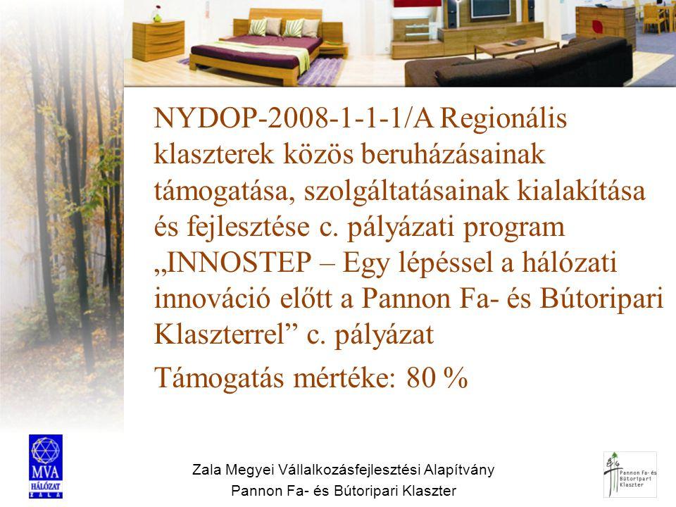 Zala Megyei Vállalkozásfejlesztési Alapítvány Pannon Fa- és Bútoripari Klaszter Partnerség nemzetközi szervezetekkel Belföldi és külföldi klaszterszervezetekkel Külföldi regionális szervezetekkel Innovációs intézményekkel