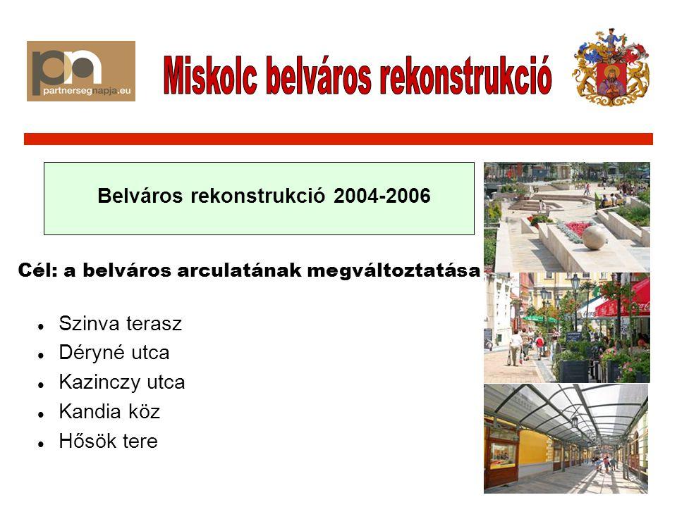 A belvárosban a kereskedelmi, turisztikai, kulturális funkciók bővítésének ösztönzése A belváros arculati, építészeti megújítása, egy funkciógazdag, vonzó közösségi tér kialakítása A belváros közlekedésének és parkolási feltételeinek javítása A belváros lakótömbjeinek megújítása, magántőke bevonásával A belváros, a történelmi Avas és a Szinva építészeti-természeti értékeinek összekapcsolása A történelmi Avas fejlesztésével a kulturális-szórakoztató funkciók bővítése, elsősorban a megközelíthetőség javításával, és a közösségi terek fejlesztésével.