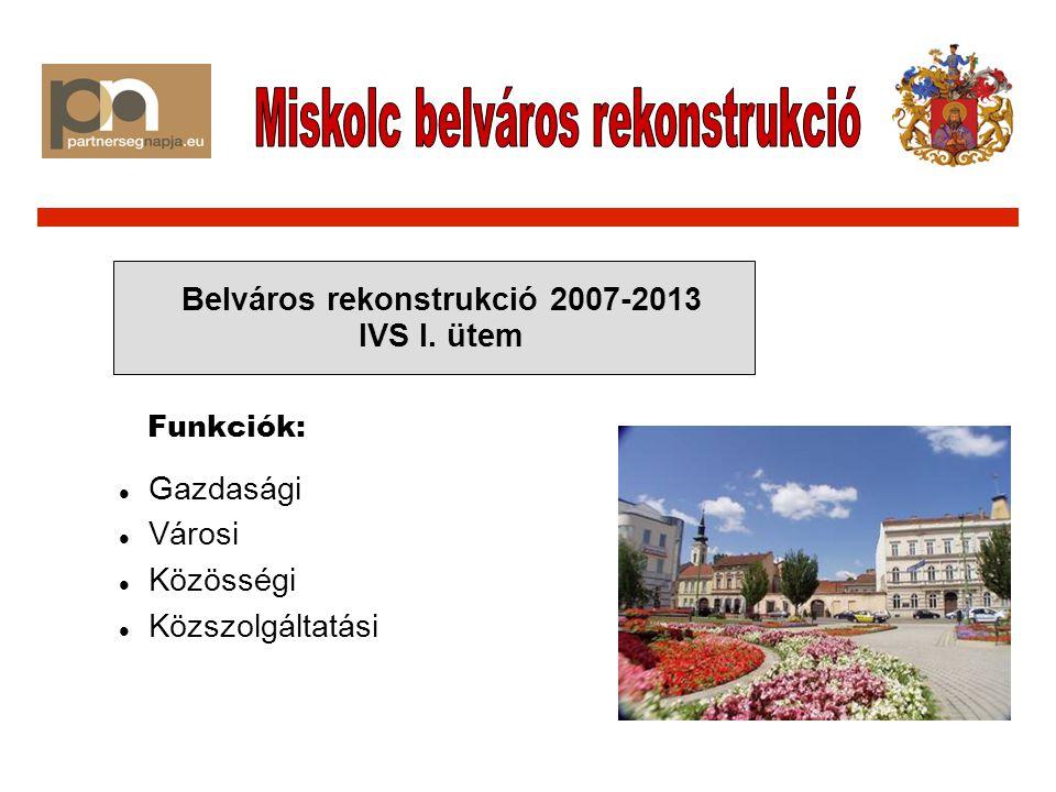 Gazdasági Városi Közösségi Közszolgáltatási Belváros rekonstrukció 2007-2013 IVS I. ütem Funkciók: