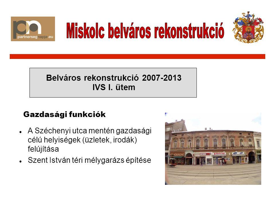 A Széchenyi utca mentén gazdasági célú helyiségek (üzletek, irodák) felújítása Szent István téri mélygarázs építése Belváros rekonstrukció 2007-2013 IVS I.