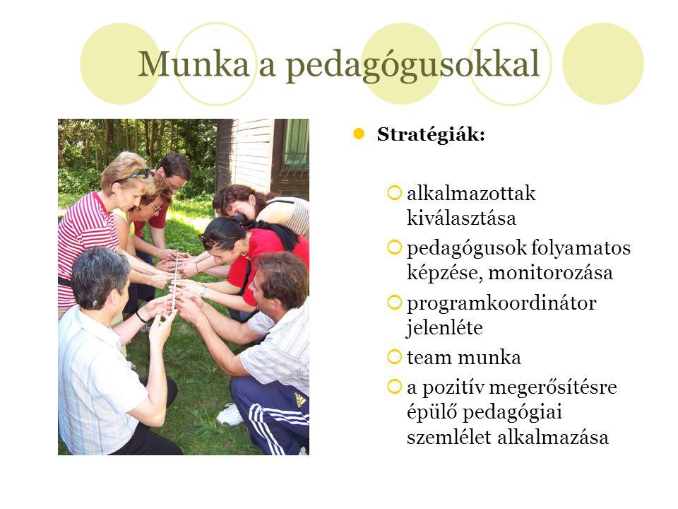 Munka a pedagógusokkal Stratégiák:  alkalmazottak kiválasztása  pedagógusok folyamatos képzése, monitorozása  programkoordinátor jelenléte  team m