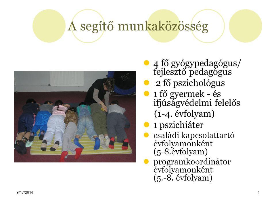 9/17/20144 A segítő munkaközösség 4 fő gyógypedagógus/ fejlesztő pedagógus 2 fő pszichológus 1 fő gyermek - és ifjúságvédelmi felelős (1-4. évfolyam)