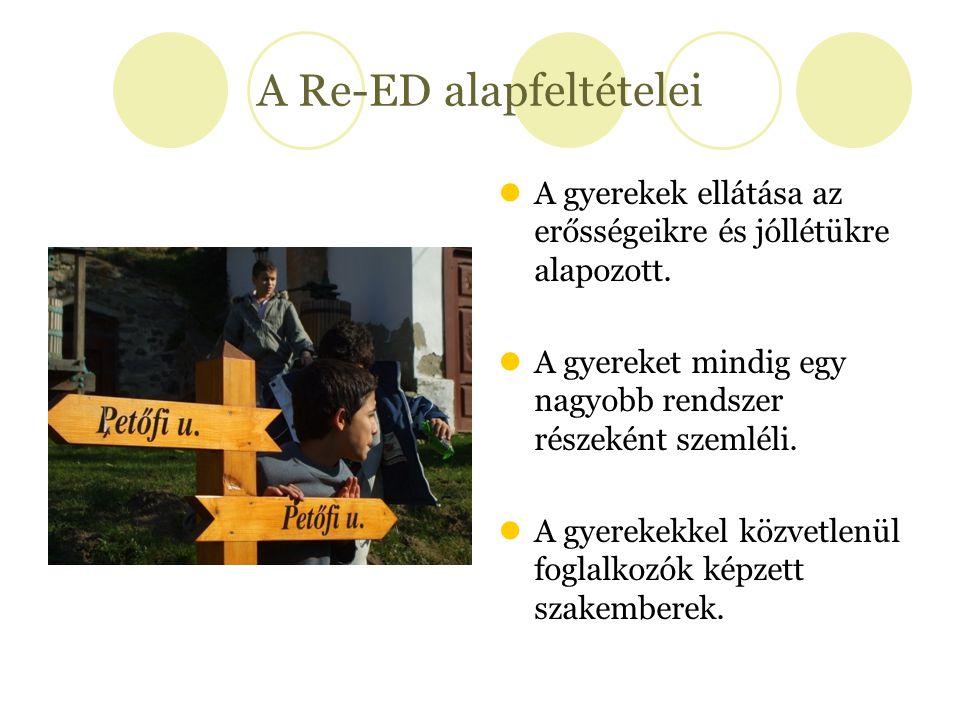 A Re-ED alapfeltételei A gyerekek ellátása az erősségeikre és jóllétükre alapozott. A gyereket mindig egy nagyobb rendszer részeként szemléli. A gyere