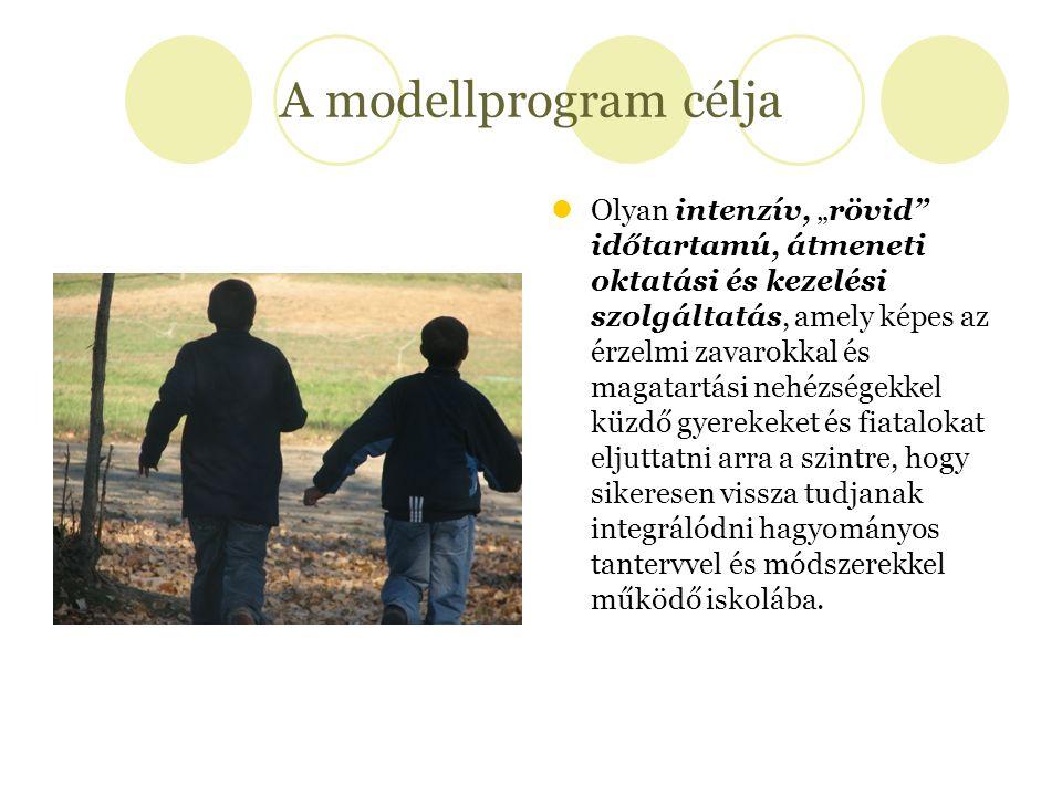 """A modellprogram célja Olyan intenzív, """"rövid"""" időtartamú, átmeneti oktatási és kezelési szolgáltatás, amely képes az érzelmi zavarokkal és magatartási"""
