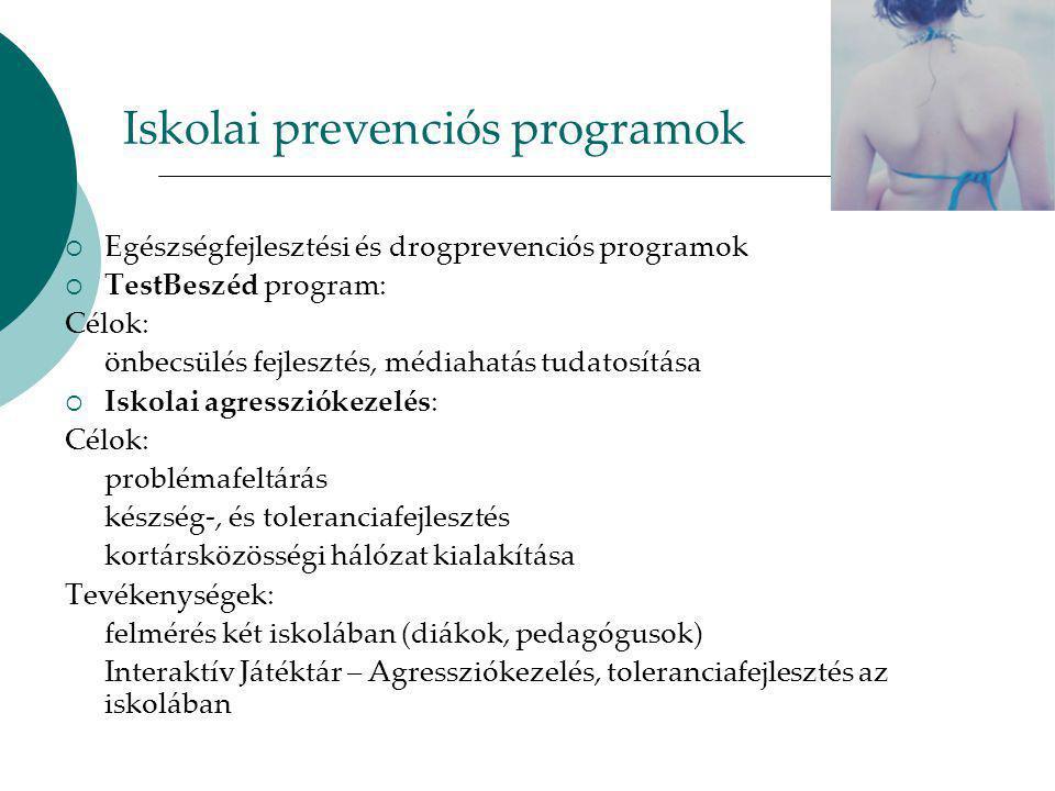 Iskolai prevenciós programok  Egészségfejlesztési és drogprevenciós programok  TestBeszéd program: Célok: önbecsülés fejlesztés, médiahatás tudatosítása  Iskolai agressziókezelés: Célok: problémafeltárás készség-, és toleranciafejlesztés kortársközösségi hálózat kialakítása Tevékenységek: felmérés két iskolában (diákok, pedagógusok) Interaktív Játéktár – Agressziókezelés, toleranciafejlesztés az iskolában