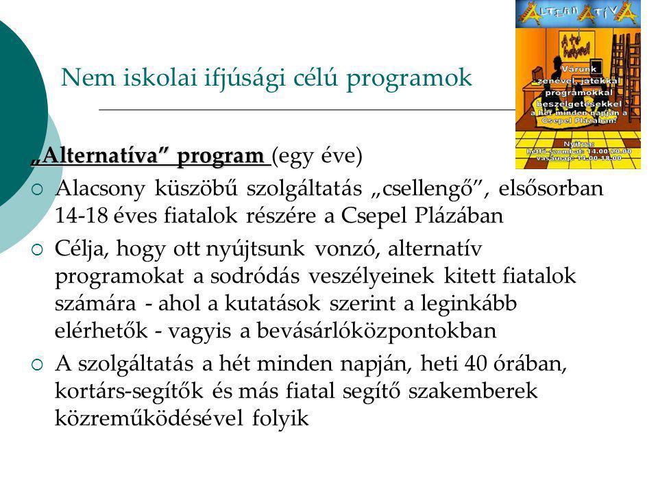 """Nem iskolai ifjúsági célú programok """"Alternatíva program """"Alternatíva program (egy éve)  Alacsony küszöbű szolgáltatás """"csellengő , elsősorban 14-18 éves fiatalok részére a Csepel Plázában  Célja, hogy ott nyújtsunk vonzó, alternatív programokat a sodródás veszélyeinek kitett fiatalok számára - ahol a kutatások szerint a leginkább elérhetők - vagyis a bevásárlóközpontokban  A szolgáltatás a hét minden napján, heti 40 órában, kortárs-segítők és más fiatal segítő szakemberek közreműködésével folyik"""