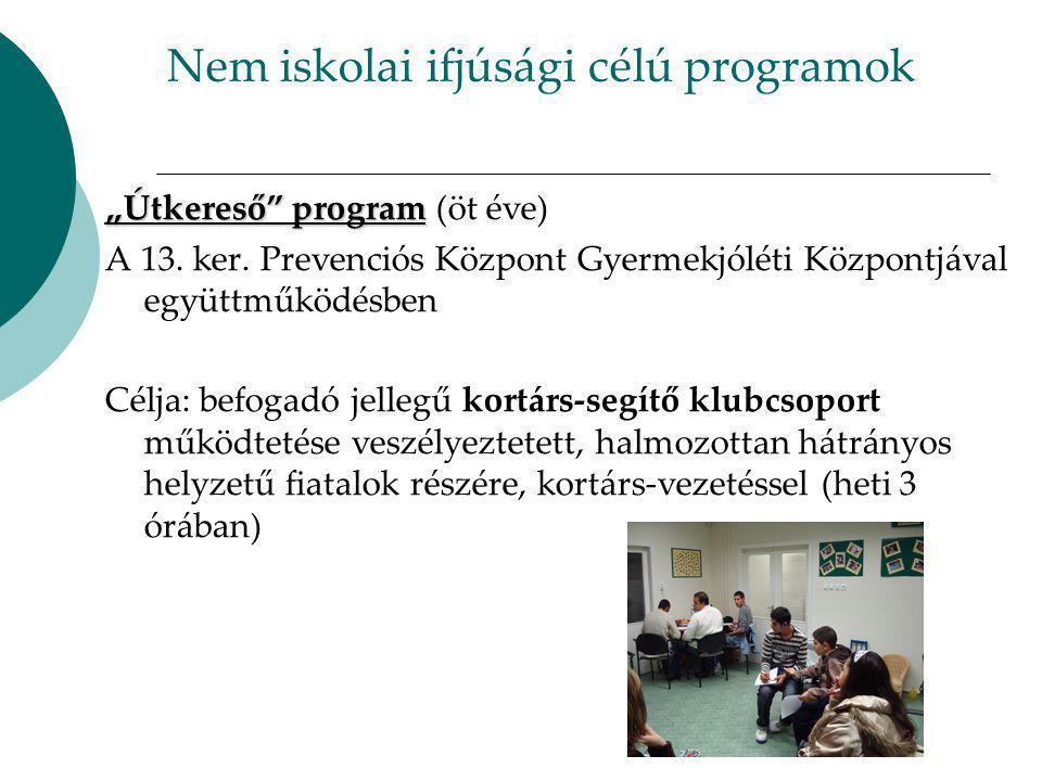 """Nem iskolai ifjúsági célú programok """" Útkereső program """" Útkereső program (öt éve) A 13."""