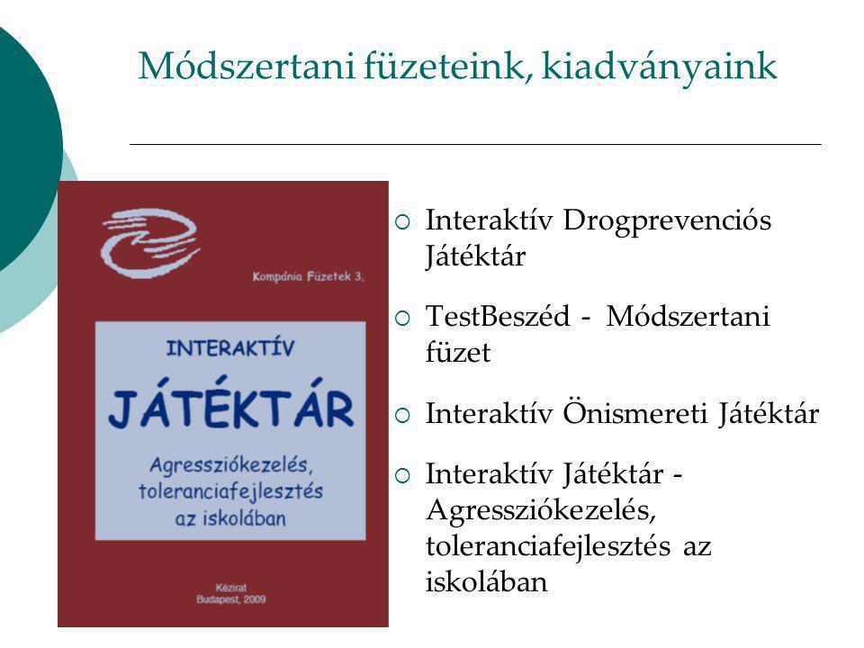 Módszertani füzeteink, kiadványaink  Interaktív Drogprevenciós Játéktár  TestBeszéd - Módszertani füzet  Interaktív Önismereti Játéktár  Interaktív Játéktár - Agressziókezelés, toleranciafejlesztés az iskolában