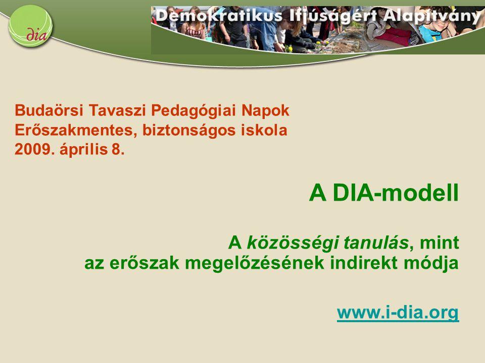 A DIA-modell A közösségi tanulás, mint az erőszak megelőzésének indirekt módja www.i-dia.org Budaörsi Tavaszi Pedagógiai Napok Erőszakmentes, biztonsá