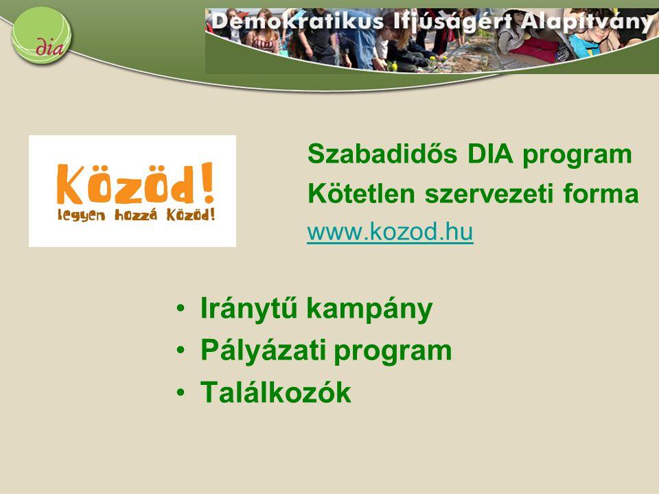 Szabadidős DIA program Kötetlen szervezeti forma www.kozod.hu Iránytű kampány Pályázati program Találkozók