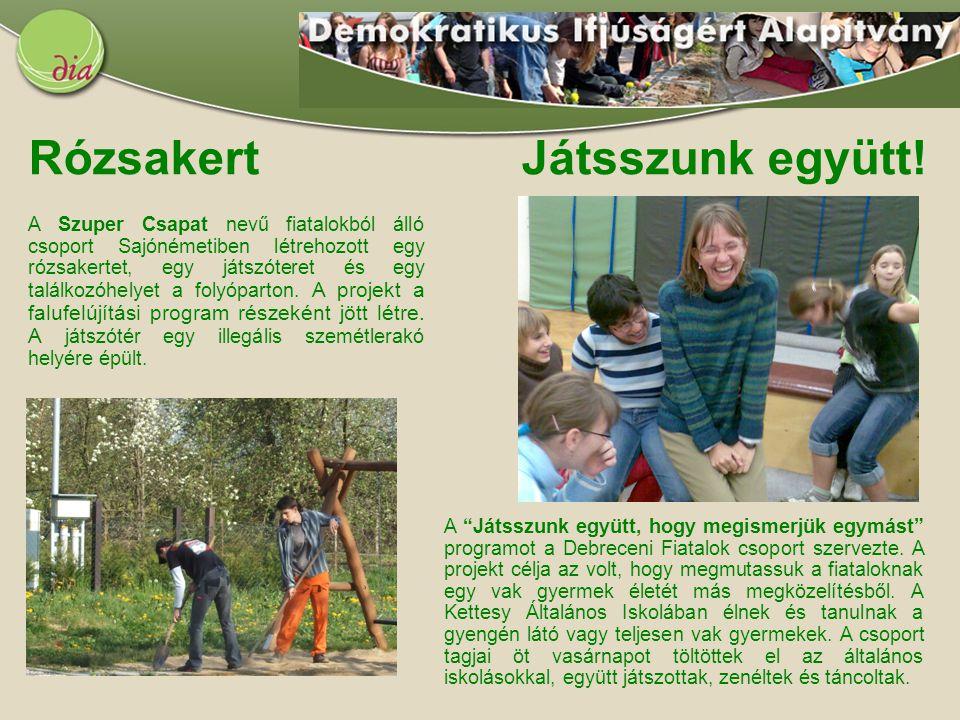 """Rózsakert Játsszunk együtt! A """"Játsszunk együtt, hogy megismerjük egymást"""" programot a Debreceni Fiatalok csoport szervezte. A projekt célja az volt,"""