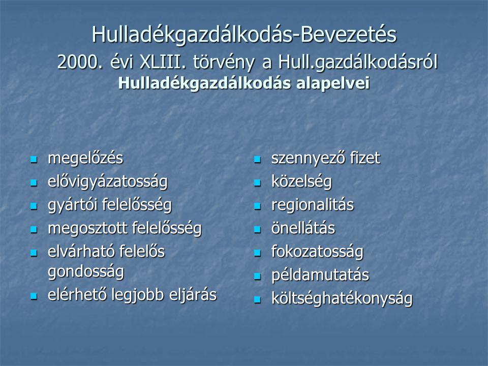 Hulladékgazdálkodás-Bevezetés 2000.évi XLIII. törvény a Hull.gazdálkodásról V.