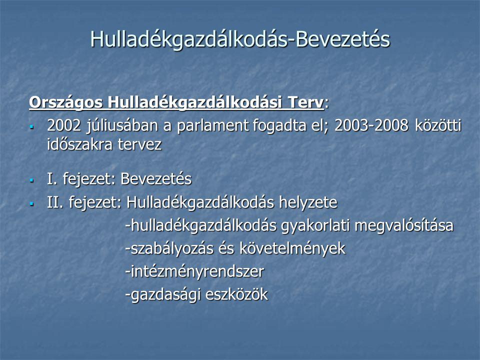 Hulladékgazdálkodás-Bevezetés Országos Hulladékgazdálkodási Terv:  2002 júliusában a parlament fogadta el; 2003-2008 közötti időszakra tervez  I. fe