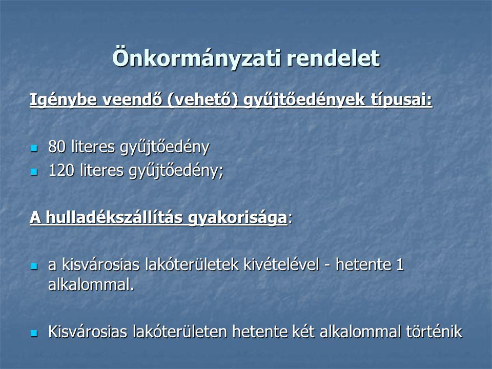 Önkormányzati rendelet Igénybe veendő (vehető) gyűjtőedények típusai: 80 literes gyűjtőedény 80 literes gyűjtőedény 120 literes gyűjtőedény; 120 liter