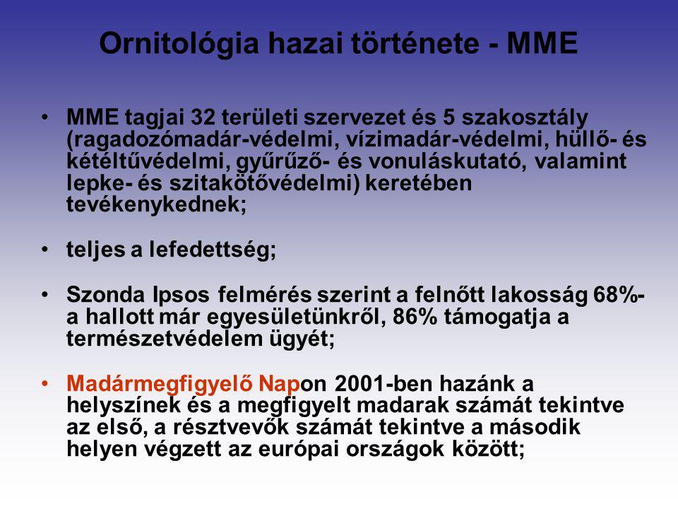 Ornitológia hazai története - MME MME tagjai 32 területi szervezet és 5 szakosztály (ragadozómadár-védelmi, vízimadár-védelmi, hüllő- és kétéltűvédelm