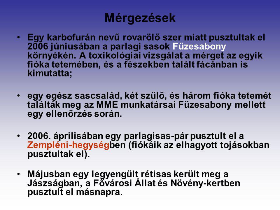 Mérgezések Egy karbofurán nevű rovarölő szer miatt pusztultak el 2006 júniusában a parlagi sasok Füzesabony környékén. A toxikológiai vizsgálat a mérg