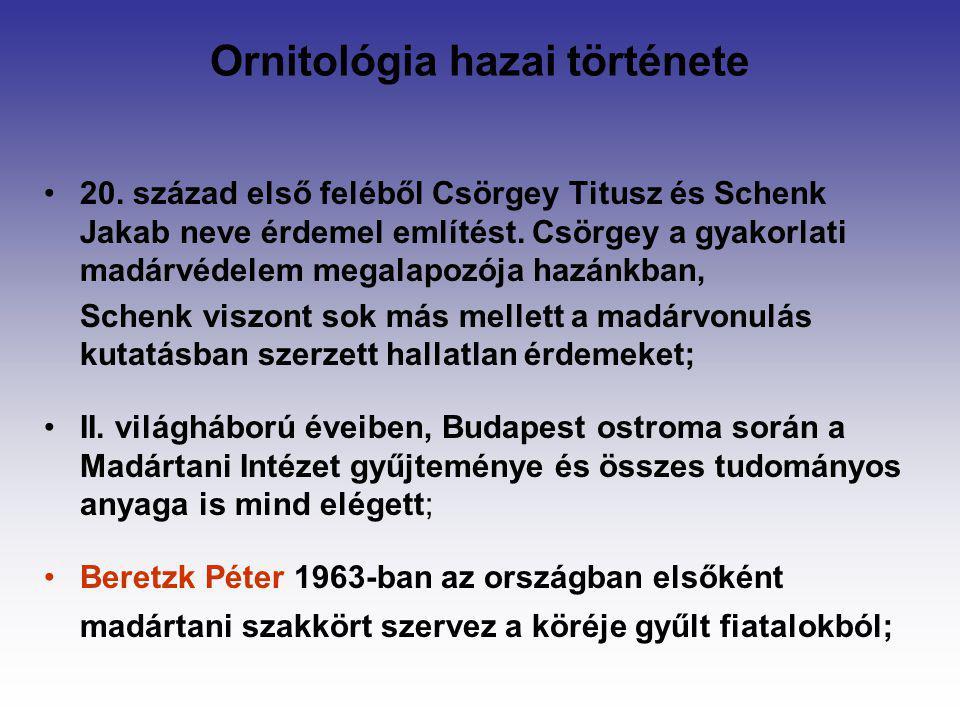 Ornitológia hazai története 20. század első feléből Csörgey Titusz és Schenk Jakab neve érdemel említést. Csörgey a gyakorlati madárvédelem megalapozó