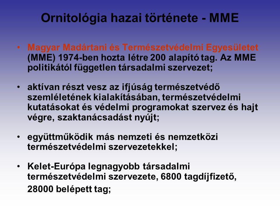 Ornitológia hazai története - MME Magyar Madártani és Természetvédelmi Egyesületet (MME) 1974-ben hozta létre 200 alapító tag. Az MME politikától függ