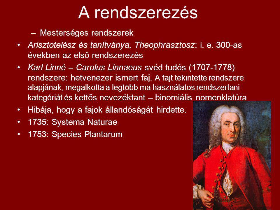 A rendszerezés –Mesterséges rendszerek Arisztotelész és tanítványa, Theophrasztosz: i. e. 300-as években az első rendszerezés Karl Linné – Carolus Lin