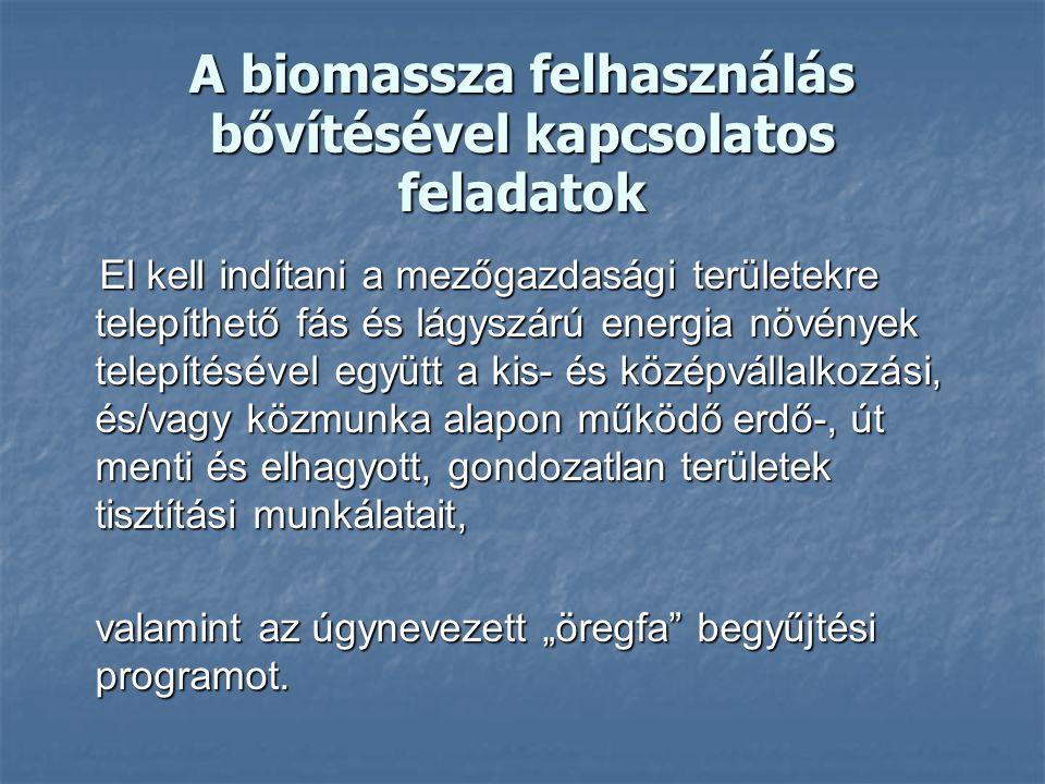 A biomassza felhasználás bővítésével kapcsolatos feladatok El kell indítani a mezőgazdasági területekre telepíthető fás és lágyszárú energia növények