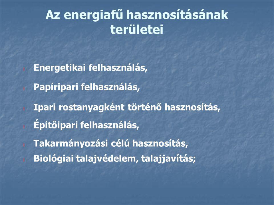 Az energiafű hasznosításának területei l Energetikai felhasználás, l Papíripari felhasználás, l Ipari rostanyagként történő hasznosítás, l Építőipari