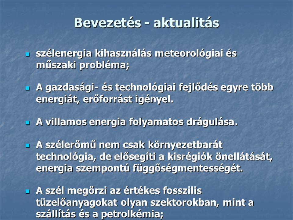 Bevezetés - aktualitás szélenergia kihasználás meteorológiai és műszaki probléma; szélenergia kihasználás meteorológiai és műszaki probléma; A gazdasá