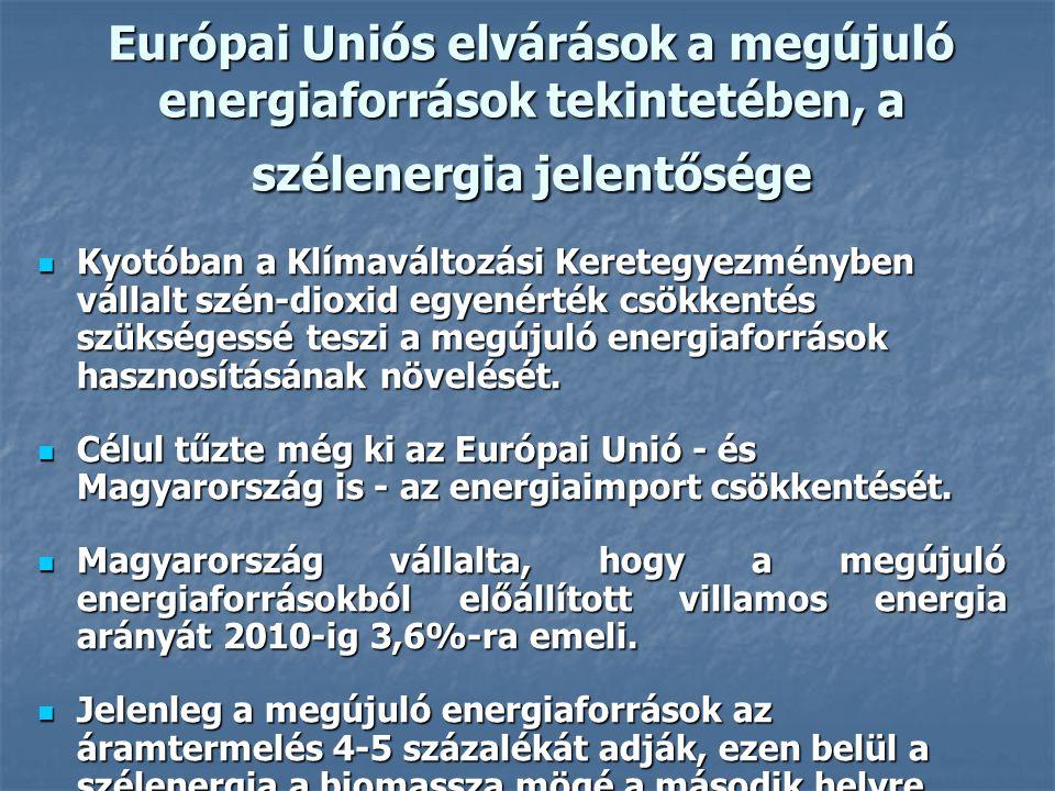 Európai Uniós elvárások a megújuló energiaforrások tekintetében, a szélenergia jelentősége Kyotóban a Klímaváltozási Keretegyezményben vállalt szén-di