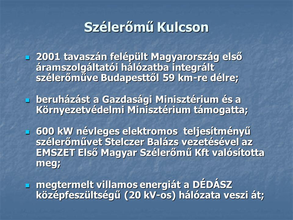 Szélerőmű Kulcson 2001 tavaszán felépült Magyarország első áramszolgáltatói hálózatba integrált szélerőműve Budapesttől 59 km-re délre; 2001 tavaszán