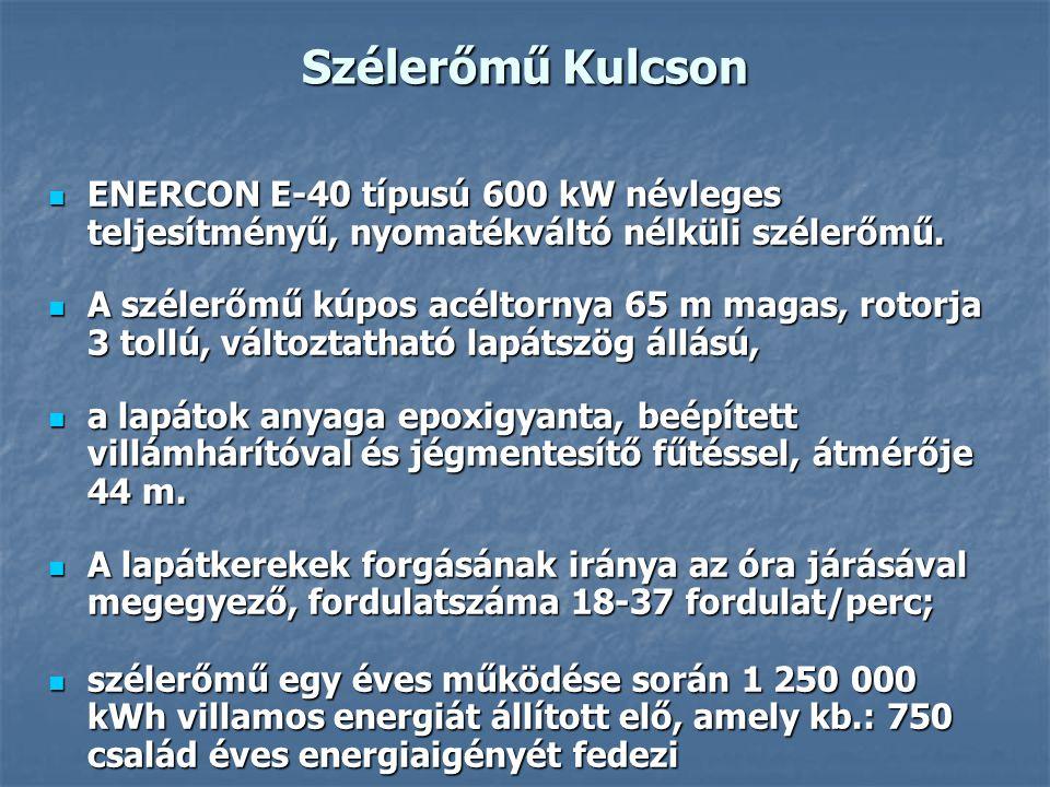 Szélerőmű Kulcson ENERCON E-40 típusú 600 kW névleges teljesítményű, nyomatékváltó nélküli szélerőmű. ENERCON E-40 típusú 600 kW névleges teljesítmény