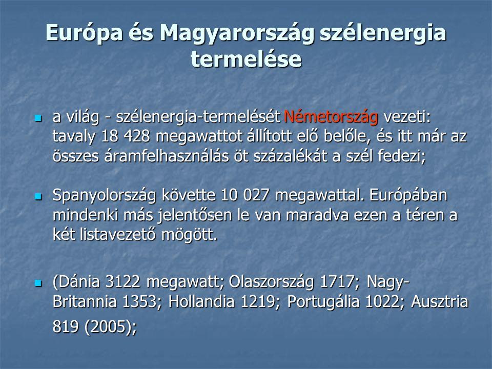 Európa és Magyarország szélenergia termelése a világ - szélenergia-termelését Németország vezeti: tavaly 18 428 megawattot állított elő belőle, és itt
