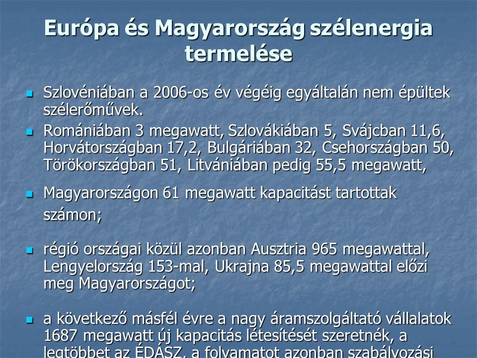 Európa és Magyarország szélenergia termelése Szlovéniában a 2006-os év végéig egyáltalán nem épültek szélerőművek. Szlovéniában a 2006-os év végéig eg
