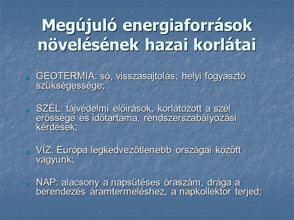 Megújuló energiaforrások növelésének hazai korlátai o GEOTERMIA: só, visszasajtolás, helyi fogyasztó szükségessége; o SZÉL: tájvédelmi előirások, korl