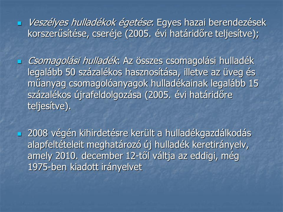 Veszélyes hulladékok égetése: Egyes hazai berendezések korszerűsítése, cseréje (2005.