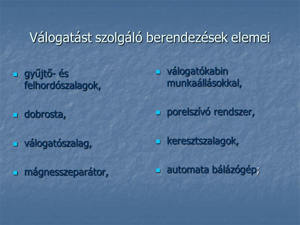 Válogatást szolgáló berendezések elemei gyűjtő- és felhordószalagok, gyűjtő- és felhordószalagok, dobrosta, dobrosta, válogatószalag, válogatószalag, mágnesszeparátor, mágnesszeparátor, válogatókabin munkaállásokkal, válogatókabin munkaállásokkal, porelszívó rendszer, porelszívó rendszer, keresztszalagok, keresztszalagok, automata bálázógép; automata bálázógép;