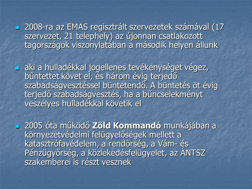 2008-ra az EMAS regisztrált szervezetek számával (17 szervezet, 21 telephely) az újonnan csatlakozott tagországok viszonylatában a második helyen állunk 2008-ra az EMAS regisztrált szervezetek számával (17 szervezet, 21 telephely) az újonnan csatlakozott tagországok viszonylatában a második helyen állunk aki a hulladékkal jogellenes tevékenységet végez, bűntettet követ el, és három évig terjedő szabadságvesztéssel büntetendő.