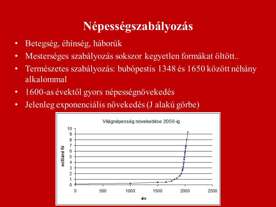 Népesség alakulása napjainkban az ENSZ 1996-ban közzétette a Demográfiai Bizottság jelentését (2050-ig 8-11 milliárd fővel számolnak) Legfőbb probléma az egyenlőtlenség