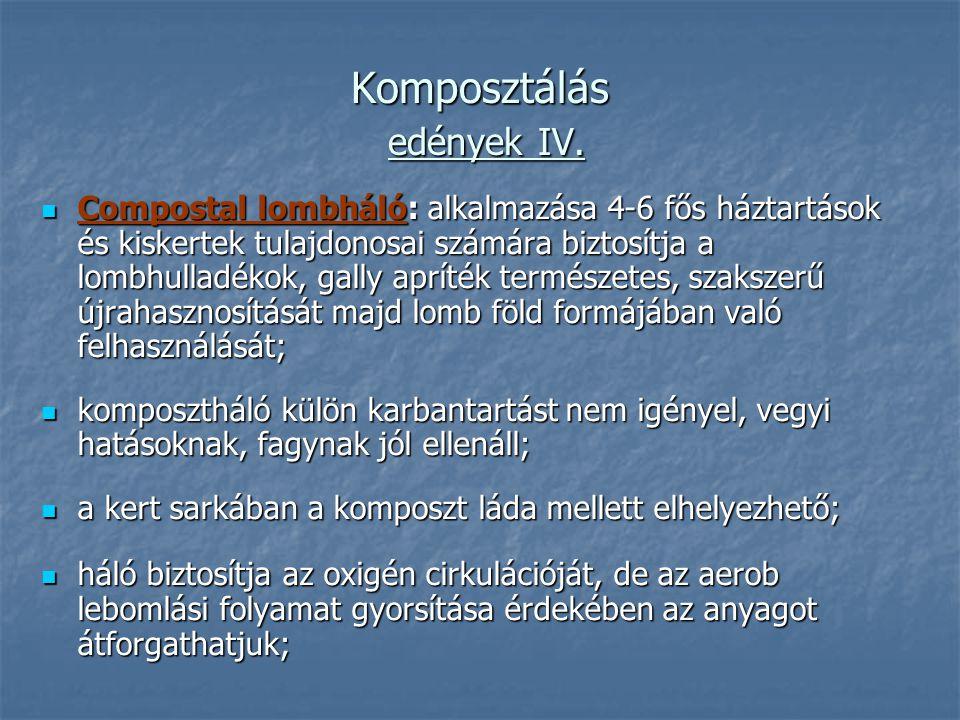 Komposztálás edények IV. Compostal lombháló: alkalmazása 4-6 fős háztartások és kiskertek tulajdonosai számára biztosítja a lombhulladékok, gally aprí