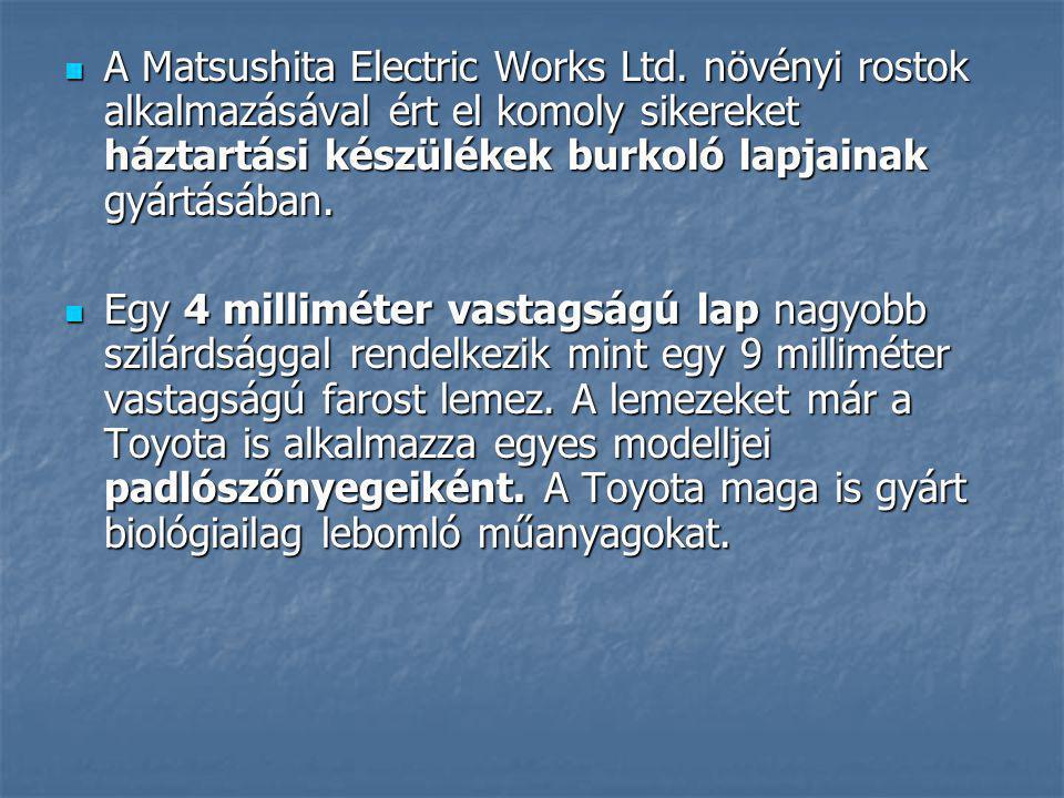 A Matsushita Electric Works Ltd. növényi rostok alkalmazásával ért el komoly sikereket háztartási készülékek burkoló lapjainak gyártásában. A Matsushi