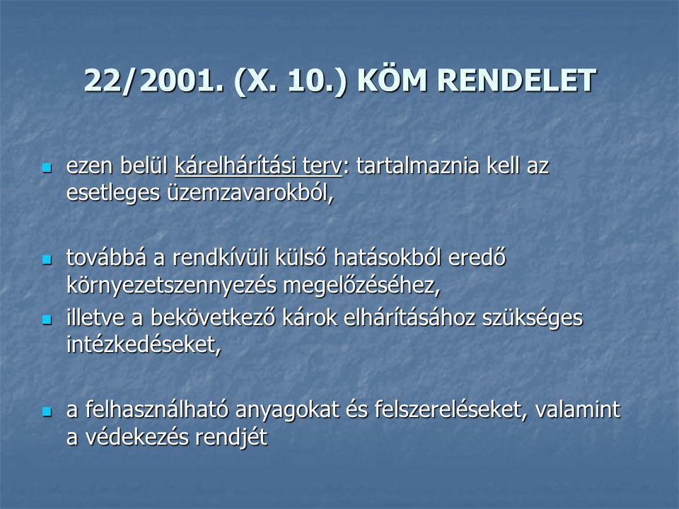 22/2001. (X. 10.) KÖM RENDELET ezen belül kárelhárítási terv: tartalmaznia kell az esetleges üzemzavarokból, ezen belül kárelhárítási terv: tartalmazn